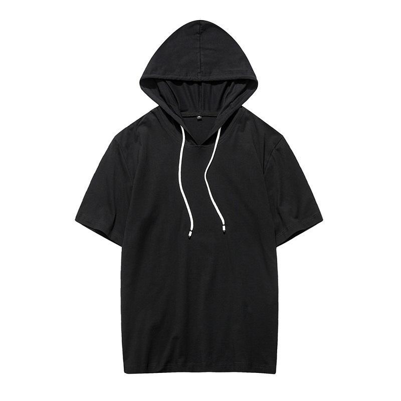 여름 짧은 소매 후드 티 의류 남성용 탑스 패션 블랙 남성 탑스 브랜드 Hoody Men 's Homme De Marque Plus 미국 사이즈 2XL