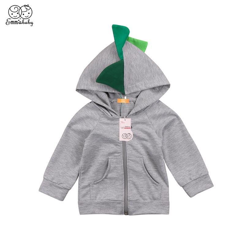 Bebek Giyim Güzel Sevimli Çocuklar Baby Boy 3D Dinozor Kapşonlu Uzun Kollu Giyim bebek giyim Coat Fermuar Ceket Dış Giyim Kostüm