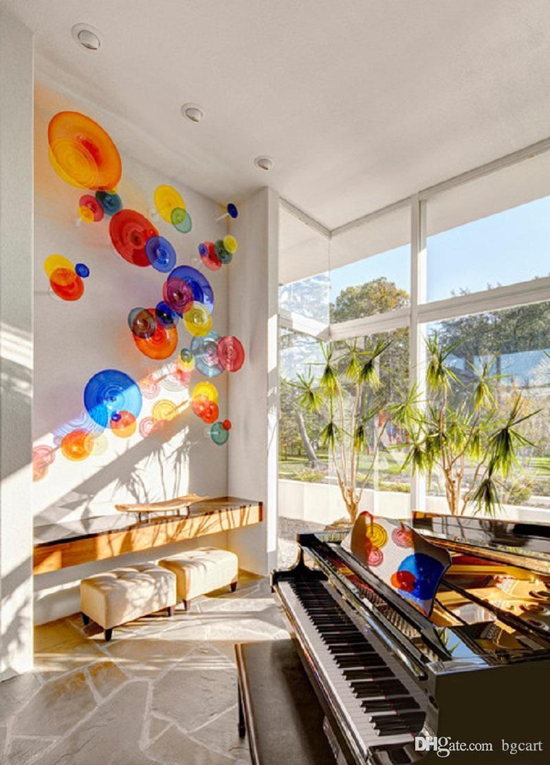 في مهب الجملة الفن الحديث زخرفة الزجاج قطع ملون زجاج مورانو مصباح الجدار جميلة اليد الديكور مصابيح زجاج