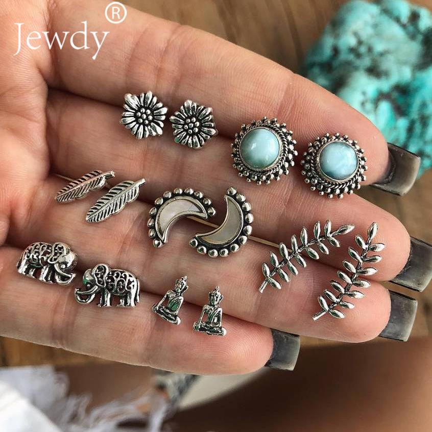 7 Pairs/set Elephant Moon Buddha Stud Earrings For Women Leaf Feather Stone Charm Boucle D'oreille Party Bridal Jewelry Brincos