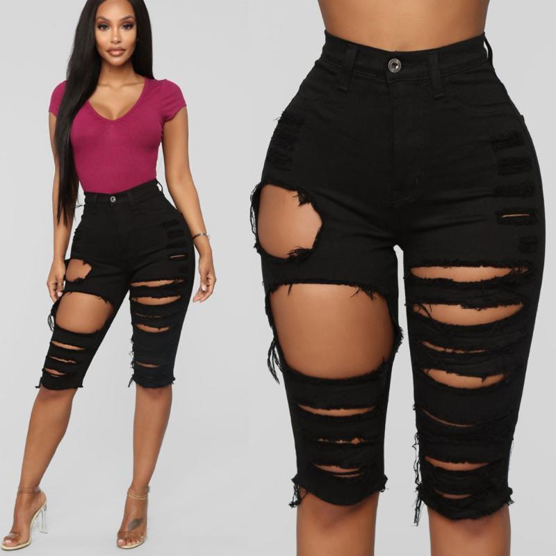 Streetwear Shorts Femmes Jeans Denim Longueur genou coréenne Short taille haute taille haute Femmes Fitness été 6,16