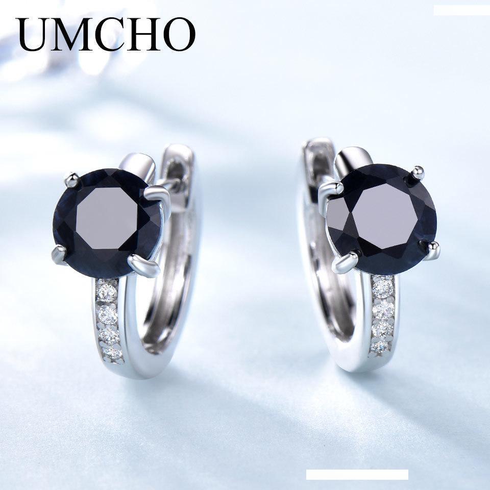 Umcho Естественный сапфир для женщин 100% реальные 925 стерлингового серебра серьги женщина Обручальное изящных ювелирных изделий способа нового SH190715