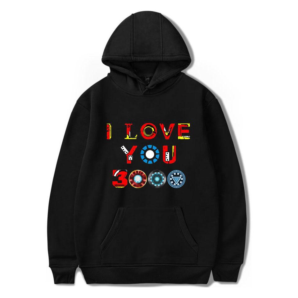 2019 Endgame Hoodie Harajuku Print I Love You 3000 Hooded Men/Women Sweatshirt Autumn Winter Clothes Casual Plus Size
