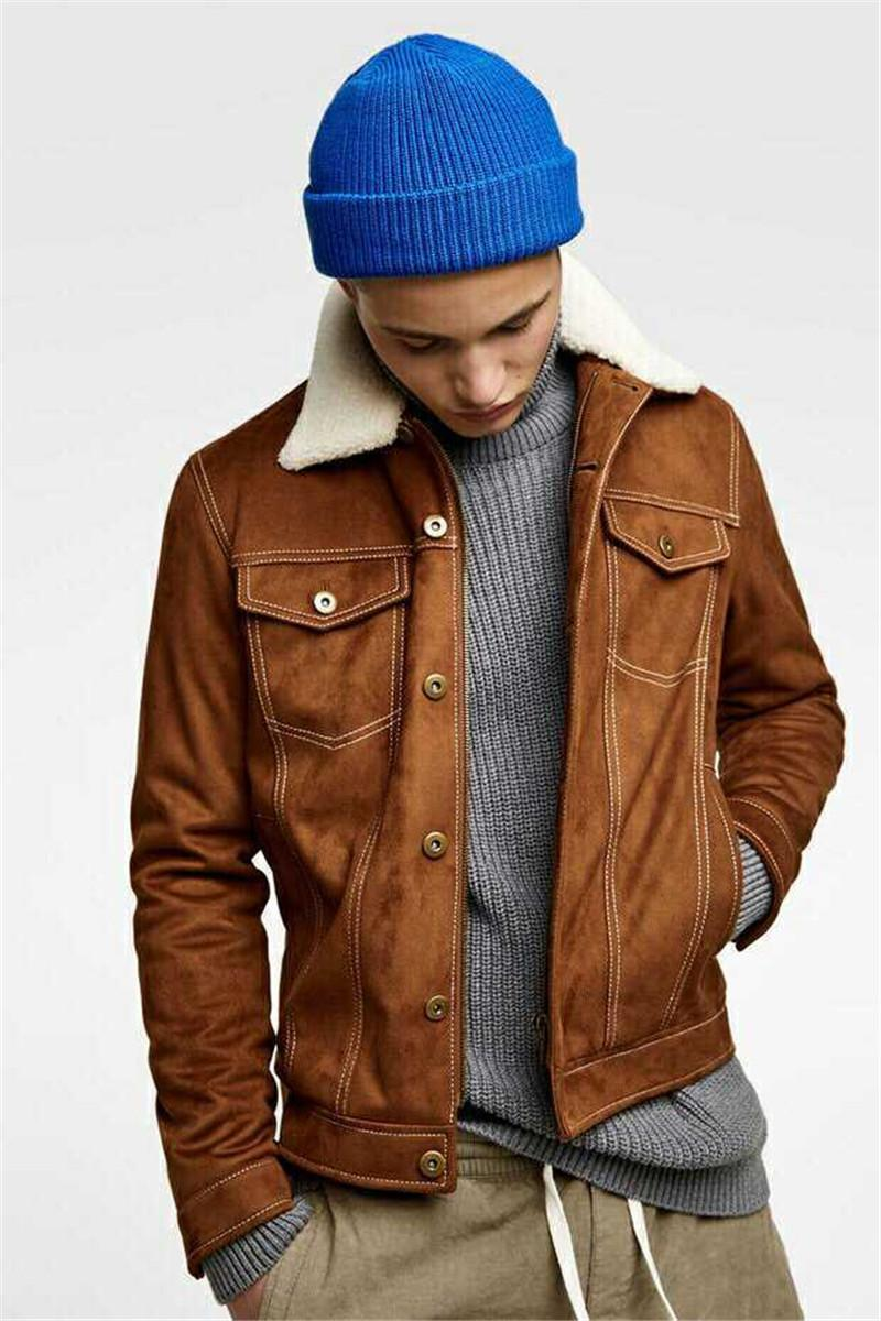 Fashion Mens Designer Jackets Fur Neck Detachable Solid Color Zipper Fly Fleece Jackets Mens Winter Warm Jackets