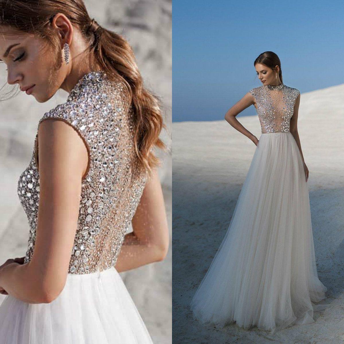Lussanobridal Beach Abiti da sposa 2020 alto collo illusione di cristallo abito da sposa senza maniche Zipper Back Plus Size Un abito da sposa linea