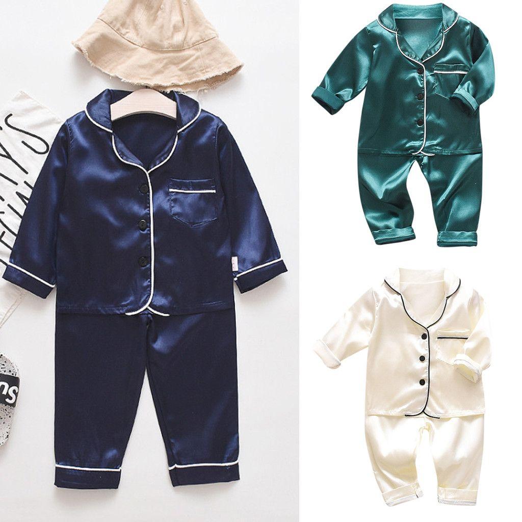 Tenues de nuit pour tout-petits garçons bébé manches longues Hauts solides + Pantalons Pyjama de nuit Vêtements de sommeil doux sentiment doux Y81