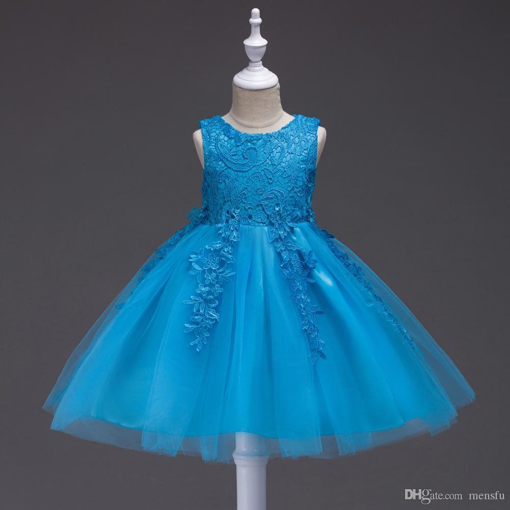 Девушки вечернее платье для детей платье девушки цветка лето без рукавов кружева Принцесса свадебные девушки подросток Ну вечернее платье E200104