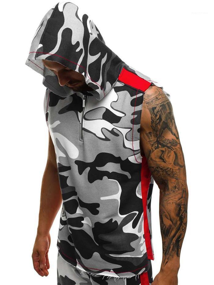 Fitness Sports Vest Mens Cotton Zipper Hoodies Men Fashion Clothing Hot Mens Sleeveless Hoodies 3D Print