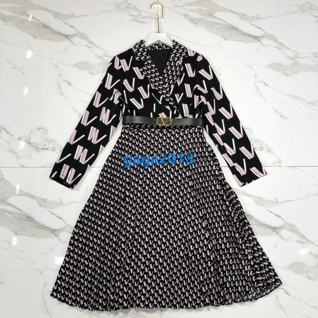High-End-Frauen Mädchen Midi-Shirt-Kleid mit V-Ausschnitt in ganz vlogo Mustergurt Hülse lang a-Linie Rock Runway milan Mode-Design Luxus-Kleider