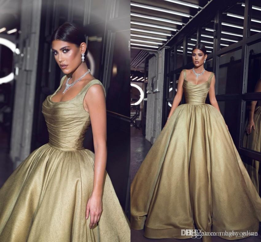 Árabe disse mhamad formal 2019 vestido de baile quinceanera vestidos espaguete alças pregas Ruffles Pageant vestidos de celebridade longa festa vestidos