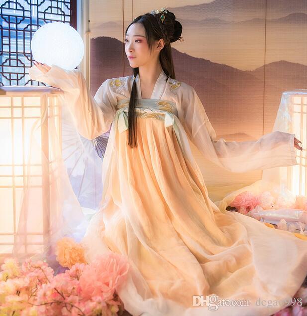 Die neuen Hanfu Frauen Brust und Rock mit Stickerei, frisch und elegant Alltag gepaart.