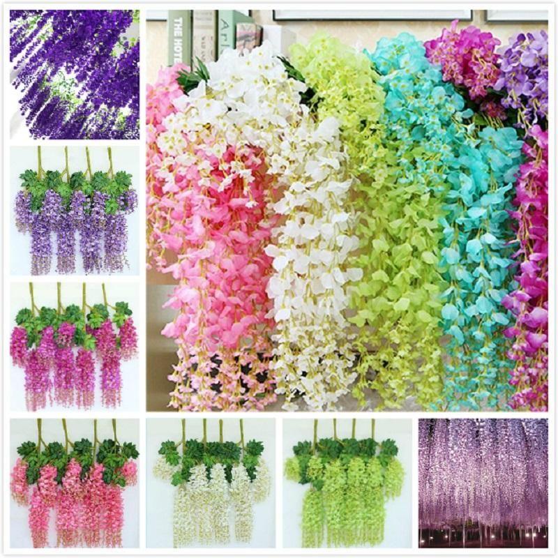 110 cm Artificial Flowers Wisteria Fake Garden Hanging Flower Plant Vine Home Wedding Party Event Decor DHF514