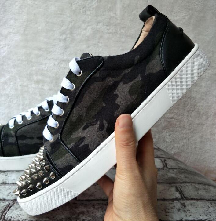 Düşük En Leopar deri Dikenler Casual Flats Kırmızı Alt Ayakkabı 2018 Yeni İçin Erkekler ve Kadınlar Partisi Tasarımcı Sneakers Aşıklar Gerçek Deri c22