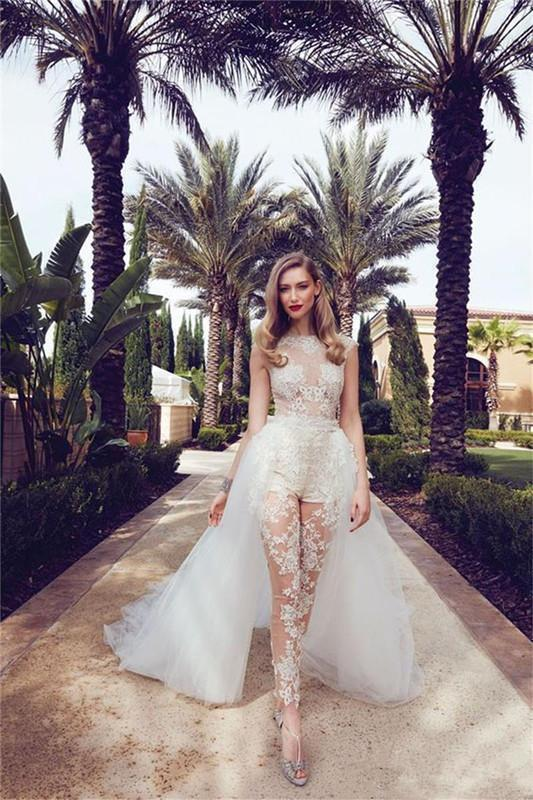 Illusion Jumpsuits Wedding Dresses With Detachable Train Lace Appliques Cap Sleeves Tulle Overskirt With Pocket Beach Wedding Bridal Gowns