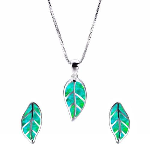 Wholesale 10 pcs Silver Plated Leaf Opalite Opal Pendant Link Chain Necklace Earrings for Women Jewelry Sets