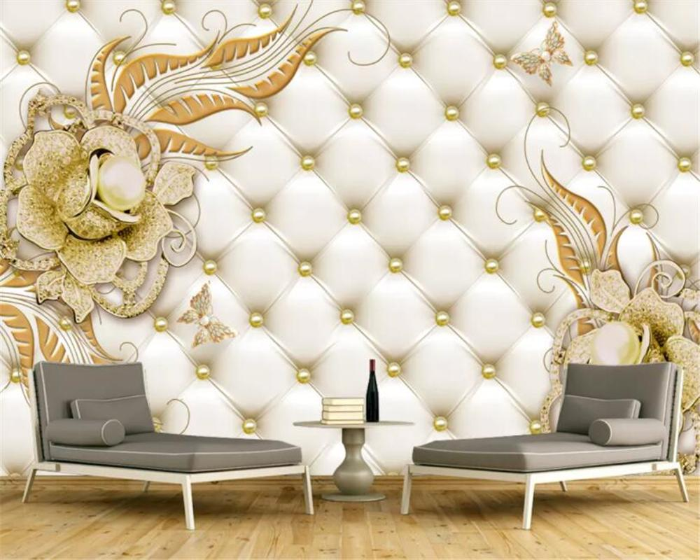 Beibehang Custom 3d wallpaper mural 3d Golden Jewelry Flower Soft Pack Jewelry TV Background Wall wallpapers for living room
