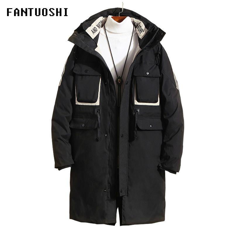 2019 Горячая продажа зима теплая ветрозащитный Hood Men Jacket Теплый Мужчины ветровки высокого качества Средние Длинные Parka Мода Толстые Casual Coat