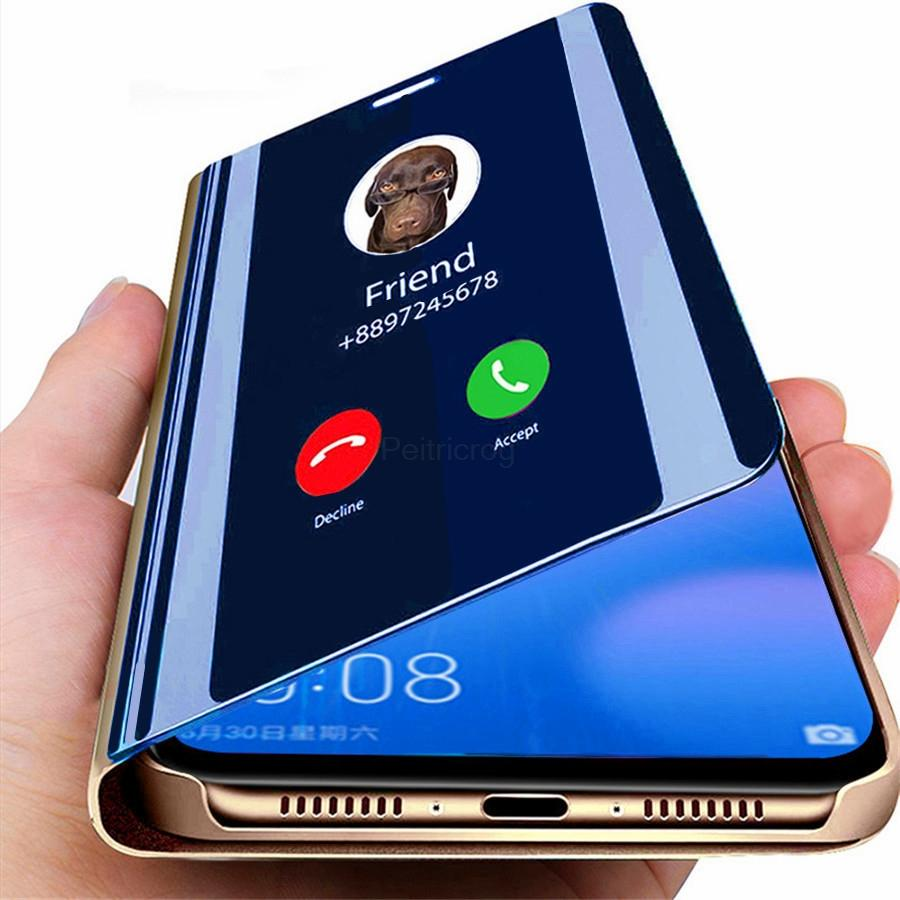 Smart Mirror Leather Case For Samsung Galaxy Note 20 Ultra S20 FE Plus S10 A72 A52 A71 A51 5G A42 A41 A31 A21 A21s A11 A01 Core