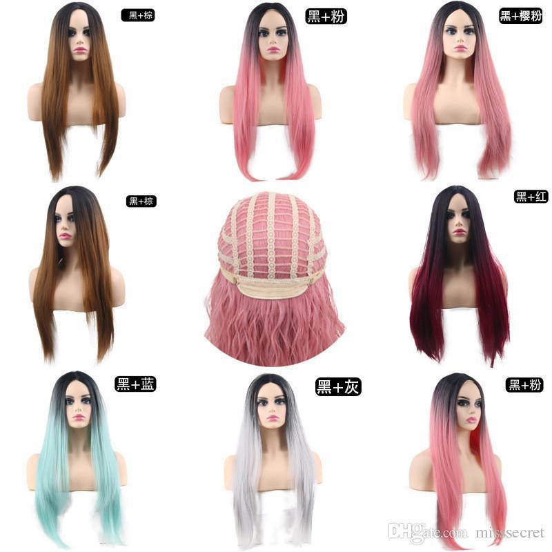 24 polegadas ombre verde perucas sintéticas longas para mulheres cinza rosa marrom perucas cosplay peruca média natureza peruca