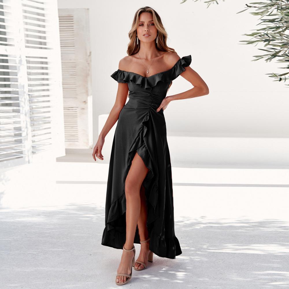 Летние женские повседневные платья Разрез шеи сплошного цвета Stacked Style Непостоянные отпечатанных платье Sexy женской одежды