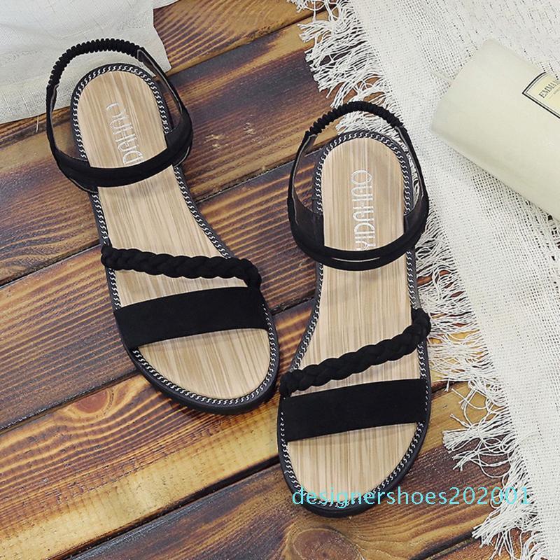 Piatto Buckle antiscivolo Sandalo per la spiaggia piatta scarpe da donna sandalo donna bohemien antiscivolo attraversare Strap donna sandalo