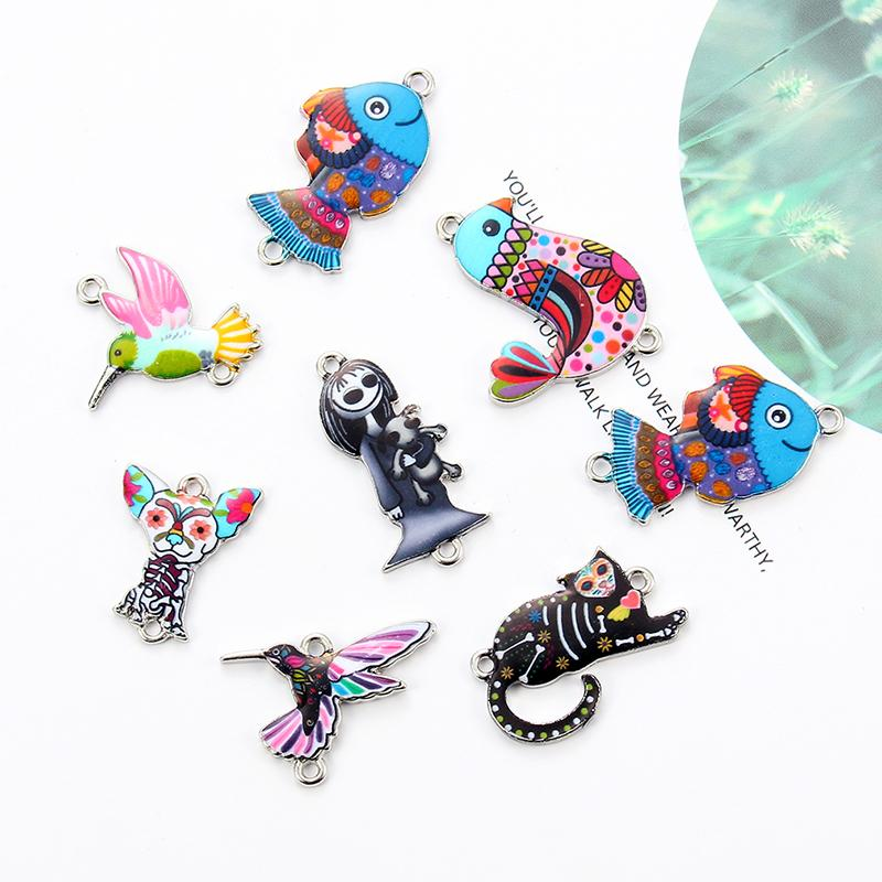 10pcs Animal Enamel Alloy Connectors Bracelets Dog Cat Fish Charms For DIY Necklace Accessories Fashion Jewelry Finding Gifts
