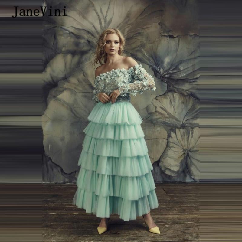 JaneVini 2020 Charming A Line Plus Size Abendkleider Lange Sleves Spitze 3D Blumen Perlen Tüll Knöchel-Längen-Damen Kleid für Prom