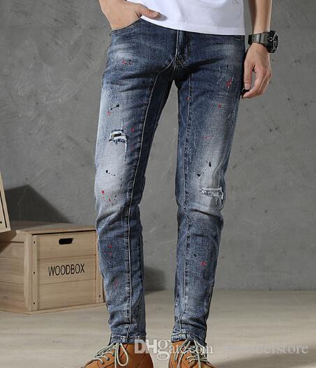 2019 новое прибытие! Краска стрейч брюки ноги внешнеторговые новые джинсы мужские моды личности европейских и американских брюки