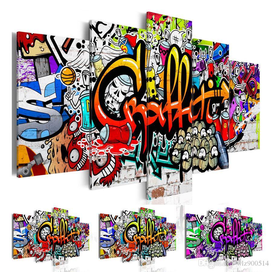(Sem moldura, Apenas Imprimir) Abstrato Da Cópia Da Lona Graffiti Moda Moderna Rua Arte Da Parede para Decoração de Casa Escolher o Tamanho