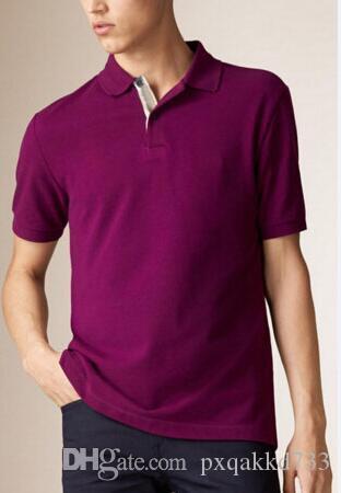 Men Polo Solid Classic UK Fashion Cotton Inghilterra disegno casuale T-shirt cavallo del ricamo di estate Top manica corta Tees fitness Viola