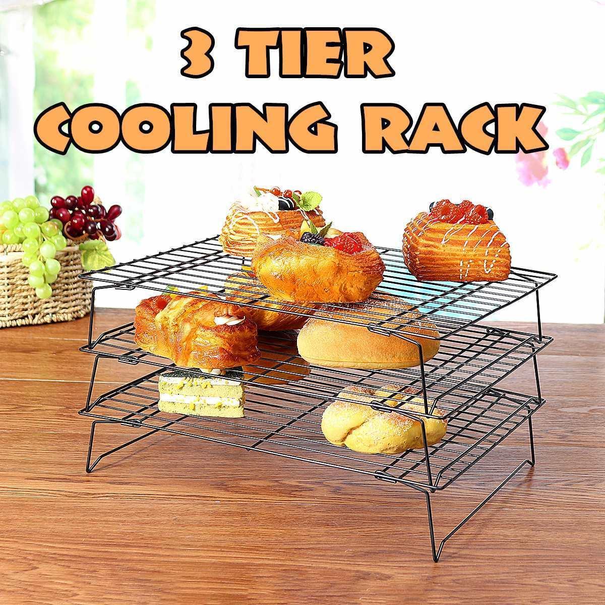 3 Tier cottura Graticola in acciaio inox antiaderente Graticola pieghevole Griglia Teglia biscotto del biscotto della torta di pane che cuociono l'attrezzo Y200612