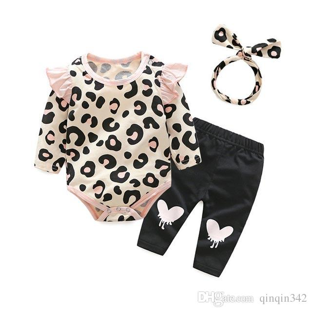 Baby Clothing Sets 201 Baby Girl designer Winter Clothes Infant Clothing Leopard Print Rompers Headband Pants 3PCS Outfits Set