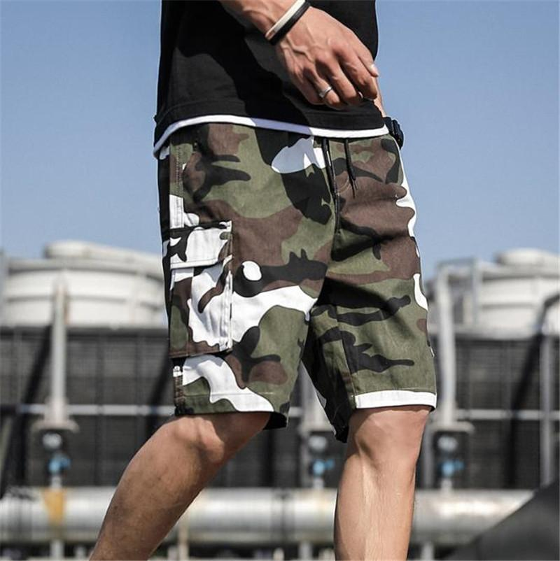 Homme Plus Size Camouflage Shorts Hip Hop Teenagers Knee Length Loose Pants Casual Pocket Cargo Shorts