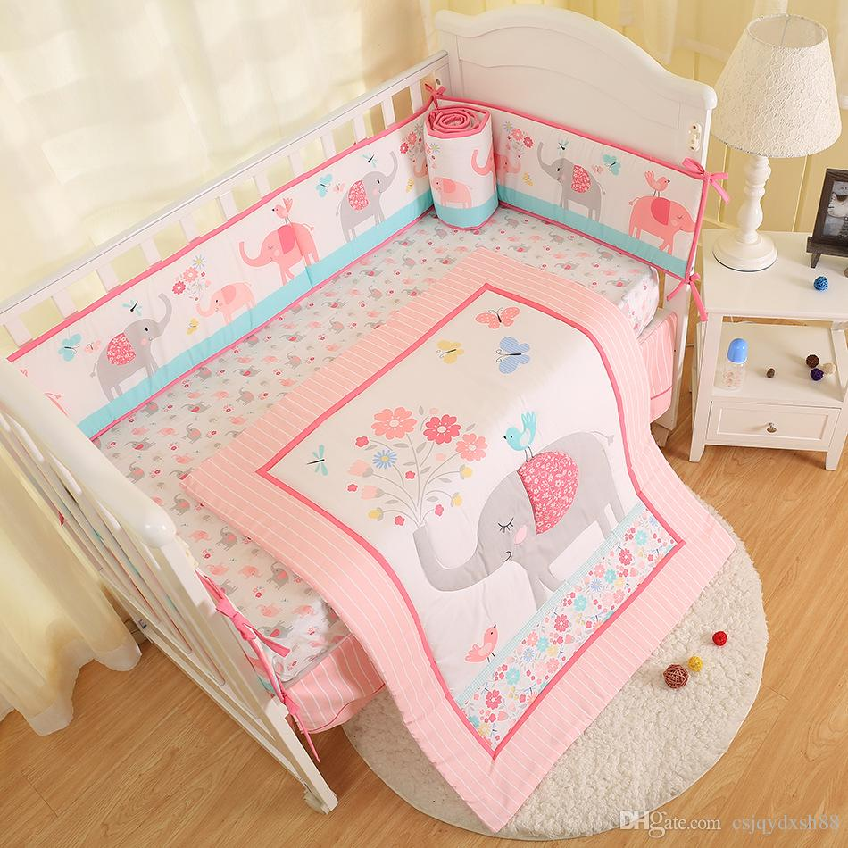 New arrival 7Pcs Newborn Crib bedding set elephant Baby bedding set For Girl Baby bed sets Cuna quilt Bumper bed skirt Fitted