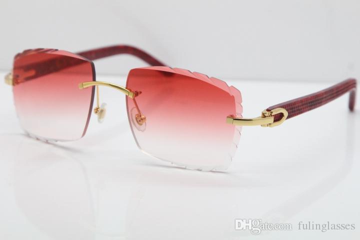 2019 Freies Verschiffen-randlose Glas-Marmor Red Aztec SunGlasses Hot Metal Mix Arme 3524012 Sonnenbrille Unisex übergroße Sonnenbrille rote Linse