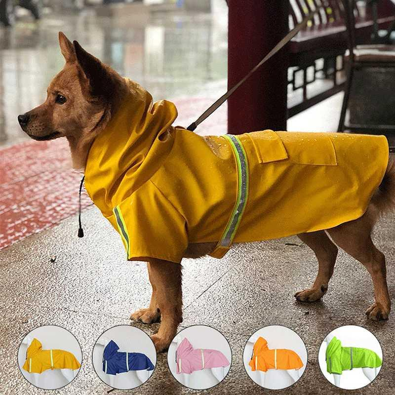 Pet Dog Raincoat Clothes for Dogs Rain Coat Jacket Harness Pets Raincoats Reflective Waterproof Hooded Jumpsuit Cloak Accessorie