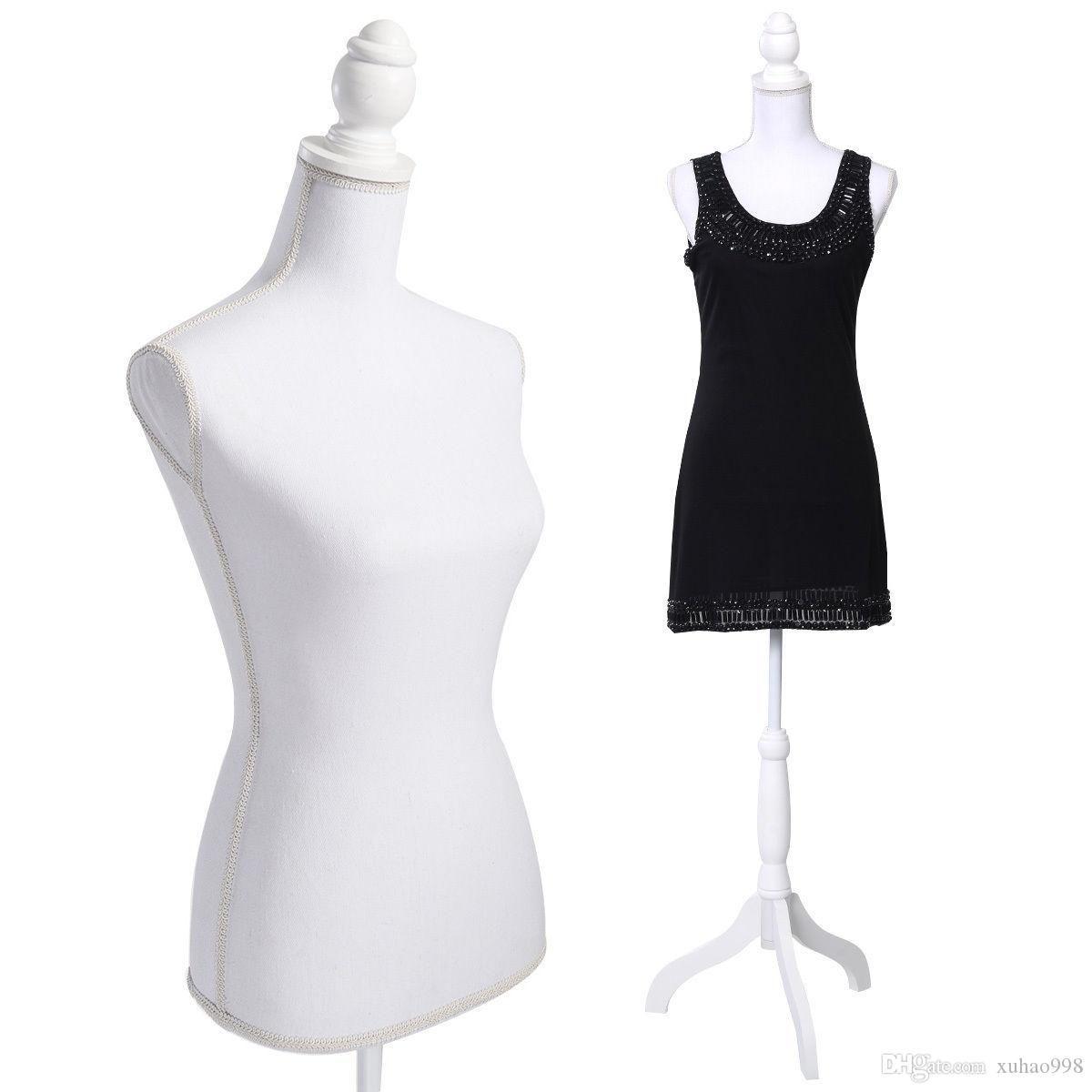White Female Mannequin Torse Robe forme de l'écran W / WhiteTripod Nouveau stand