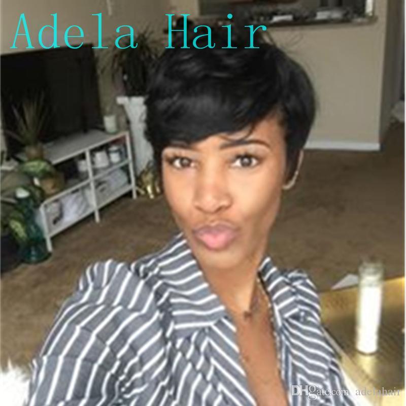 Brasileño 100% Pelucas de cabello humano Estilo corto Afro Recto # 1B Color Pelucas de moda de cabello para mujeres No remy Hecho a máquina pelucas
