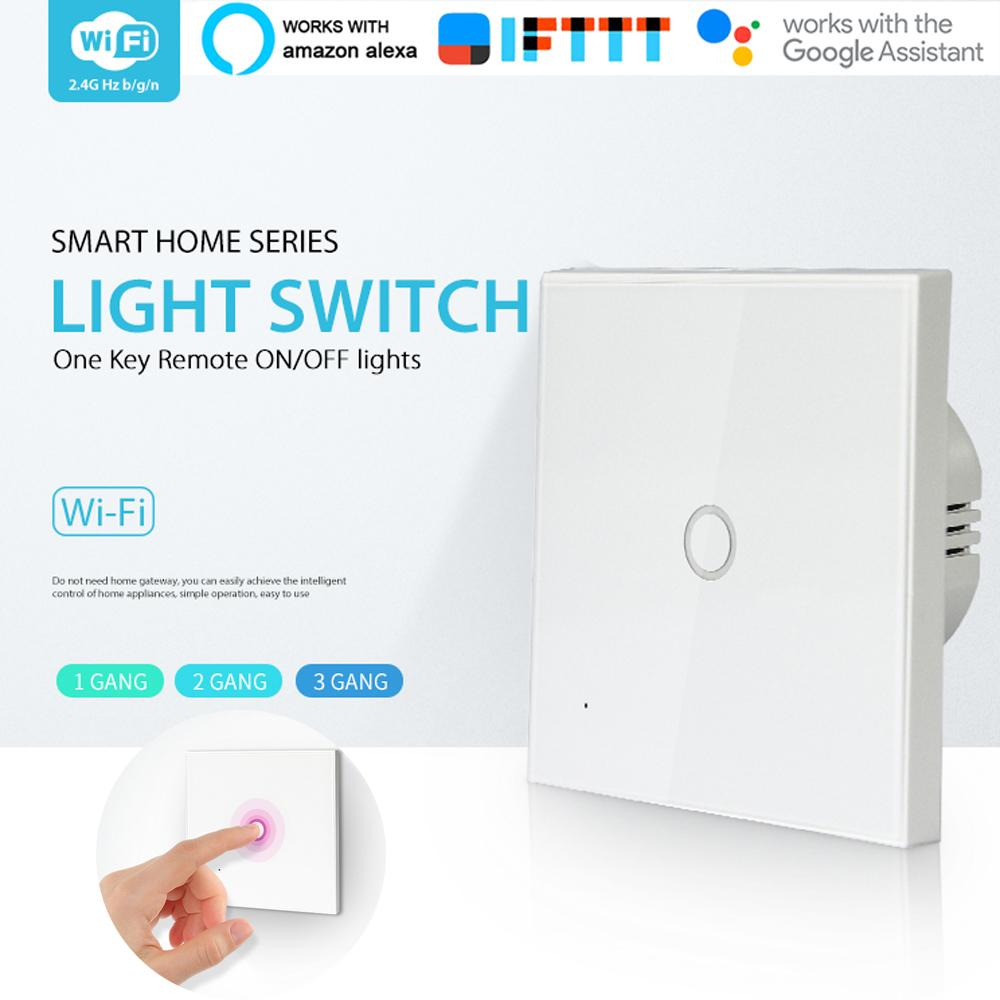 WiFi light switch 1Gang Wall Glass Panel Touch LED Lights Switch for Smart Home Wireless Remote Switch Control