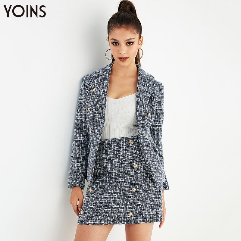 YOINS Femmes Blazers 2020 Automne Hiver Tartan col à revers Bouton à manches longues poches d'extérieur OL dames Hauts élégants Outwear