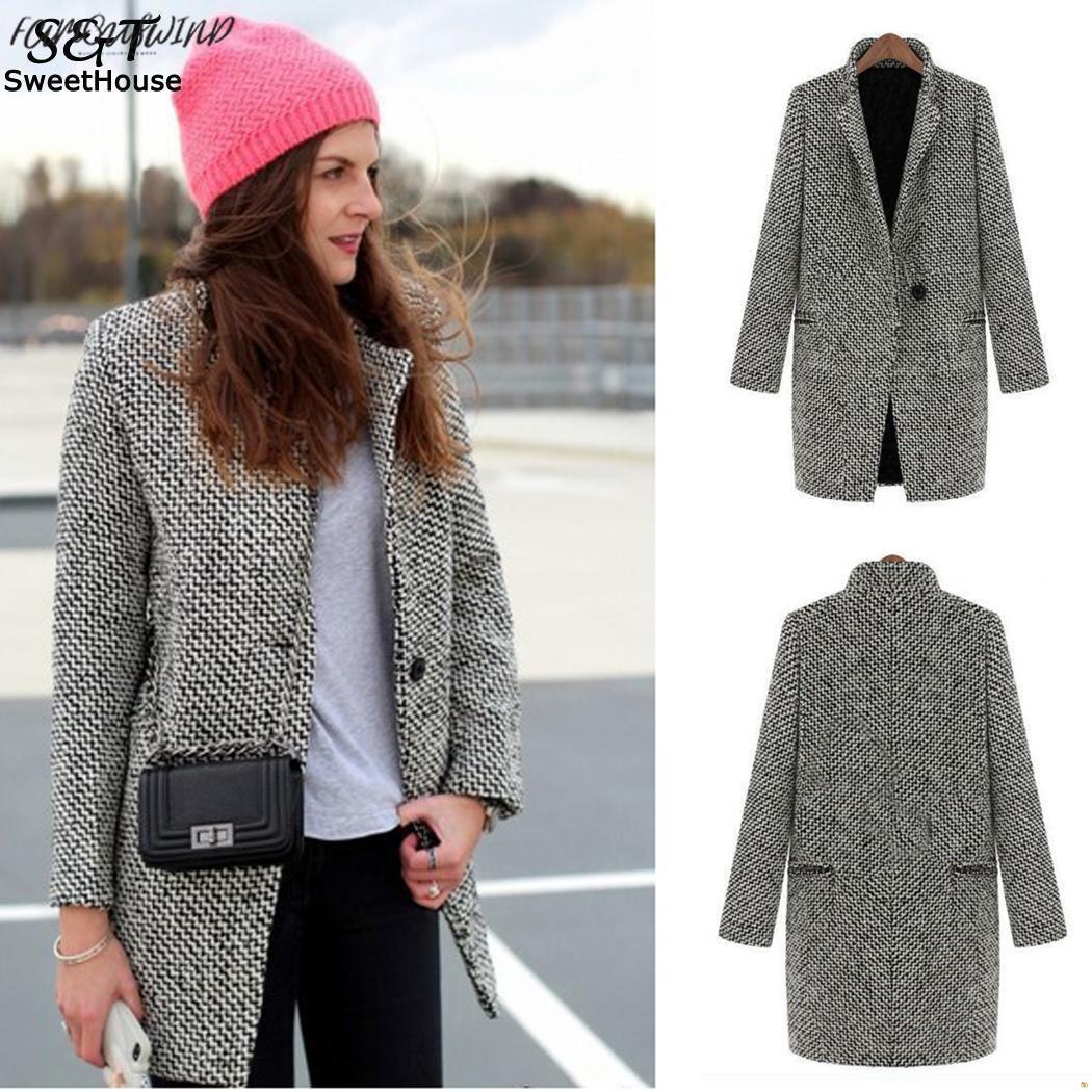 Manteau 여자 V 넥 코트 캐주얼 격자 무늬 팜므 Hiver 여성 재킷 새로운 울 코트 Manteau 팜므 하나의 버튼 포켓