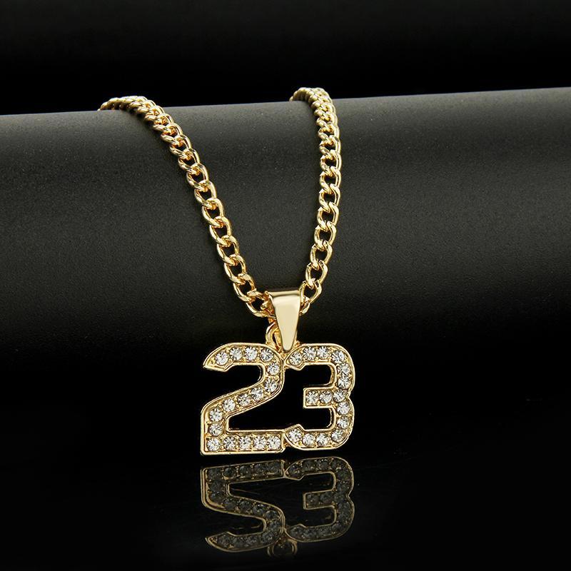 Erkekler için Yeni Geliş Kristal Hip Hop Basketbol Legend Numara 23 Kolyeler Bling Altın Küba Zincir Kolye Takı