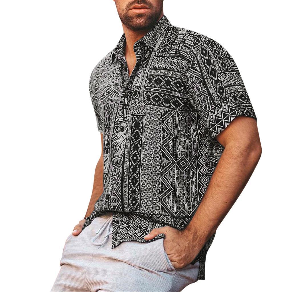 Homens Casuais Camisas Chegada Slim Fit Masculino Luxo Elegante Camisa Verão Moda Lapel Retro Impressão Curta Manga Top Blusa M-3XL