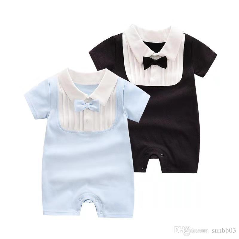 2019 Summer Infant Gentleman Boys Baby Rompers Boys Bowtie Short Sleeve Cotton Rompers Babies Toddlers Onesies Climb Clothes 14412