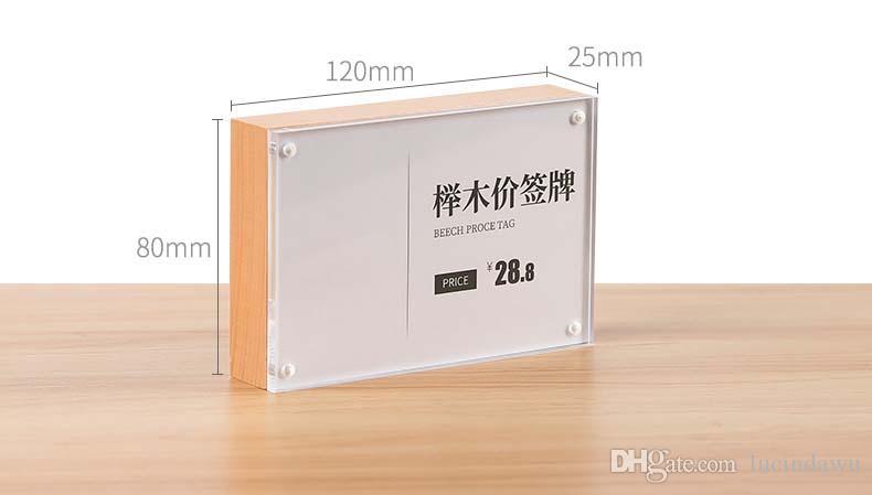 Espositore da tavolo acrilico in legno di faggio 120 * 80mm con etichetta magnetica per cartellini dei prezzi Espositore verticale