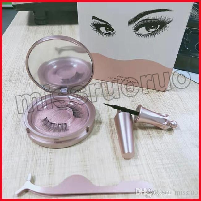 Popüler Manyetik Likit Eyeliner Manyetik Yanlış Eyelashes Cımbız Seti Mıknatıs Yanlış Eyelashes Seti Tutkal 3 set nakliye damla Araçları Makyaj