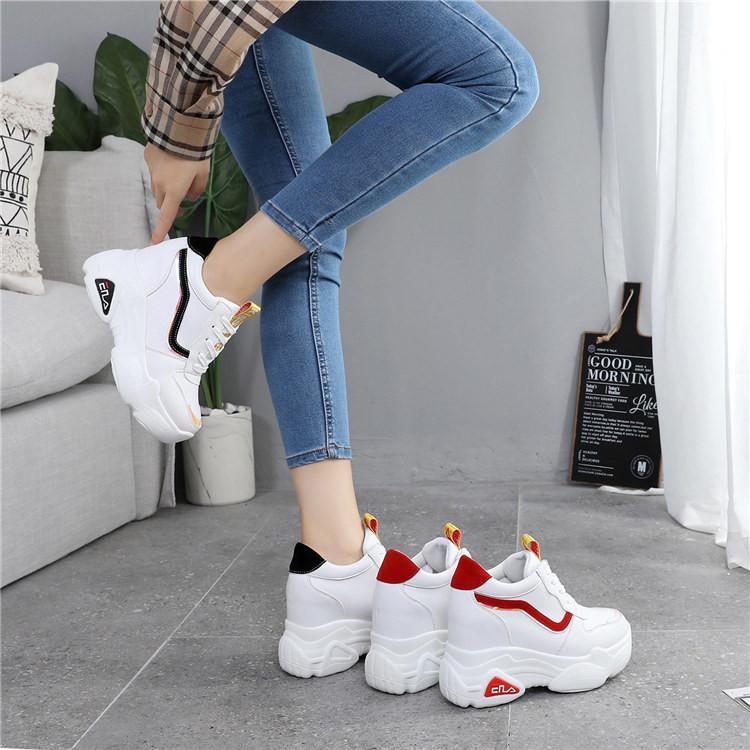 Nuevos zapatos casuales de plataforma alta para mujer transpirables zapatos de aumento de altura 10 cm de suela gruesa zapatillas de deporte mujer