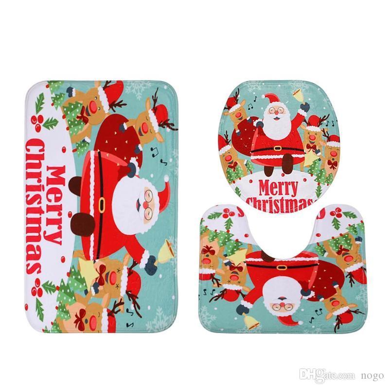 3 pezzi Natale Babbo Natale Coprisedile Set da bagno Tappeto contorno Decorazioni natalizie Navidad Natale Forniture per feste Capodanno 2019