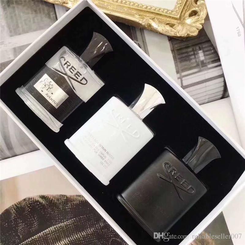 Alta Qualidade Creed perfume 3 pcs conjuntos Aventus Tweed Prata fragrância da água da montanha tempo de longa duração colônia 30 ml * 3