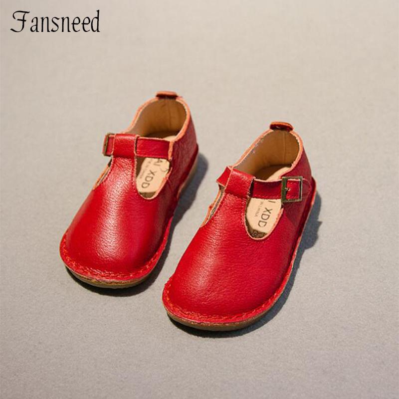2018 printemps et automne nouveaux enfants chaussures filles rétro en forme de T doux fond véritable cuir princesse chaussures Y19062001